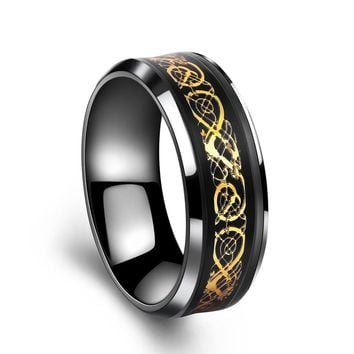 ZMZY Luxury Titanium Stainless Steel Ring for Men Carbon Fiber Dragon Lines Wedding Bands Male Design Jewelry