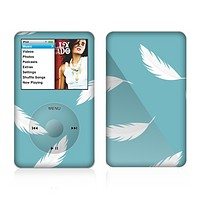 The Simple White Feathered Blue Skin For The Apple iPod Classic