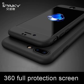 ipaky For Apple iPhone X Case 360 Full Protective + Glass Flim Hard PC Case cover For iPhone 8 7 6 6S S 10 plus 7Plus coque case