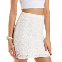 White Bodycon Lace Mini Skirt by Charlotte Russe