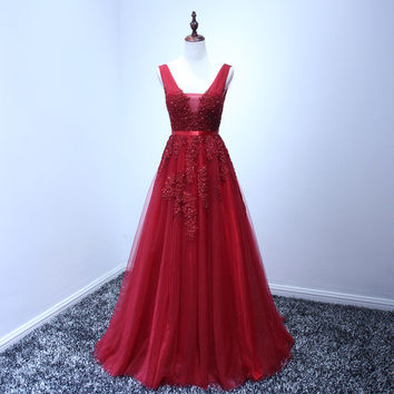 Robe De Soiree 2016 Wine Red Lace Beading Sexy Backless Long Evening Dresses Bride Banquet Elegant Floor-length Party Prom Dress