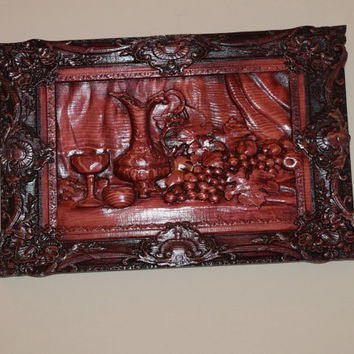 Hand Carved Wine Wall Hanging Ornate Frame Wine Pitcher Goblet Grapes Dark Mahogany Stain 3D Wall Hanging Wood Art Handmade in USA - Texas