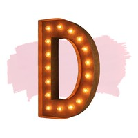 """24"""" Letter D Lighted Vintage Marquee Letters (Modern Font/Rustic)"""