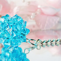 Crystal Ball Key Chain Swarovski Light Turquoise Blue Crystal Ball Keychain Key Ring