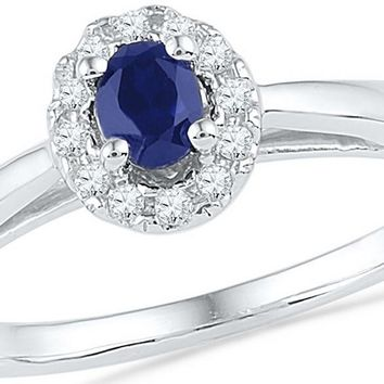 10kt White Gold Womens Oval Lab-Created Blue Sapphire Solitaire Diamond Ring 1/3 Cttw