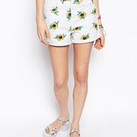 ASOS Denim Mom Short in Sunflower Print