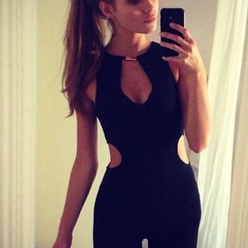 Black Plain Cut Out O-neck Backless Mid-rise Elegant Long Jumpsuit