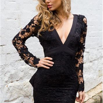 Deep-V Lace Mini Dress