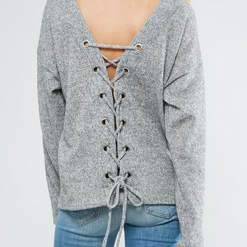 Lace up Back Sweater - Grey