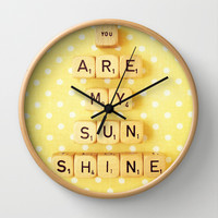 You Are My Sunshine Wall Clock by Happeemonkee