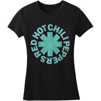 Red Hot Chili Peppers  Aqua Asterisk Girls Jr Black