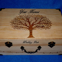 Elegant Wedding Suitcase Card Box Custom Wood Burned Box Wedding Tree Keepsake Trunk Carved Personalized Tree Of Life Love Birds Rustic