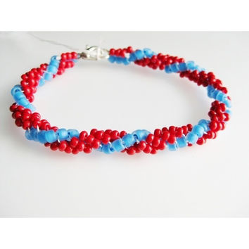 Coral Red and Turquoise Blue Spiral Glass Seed Bead Woven Bracelet