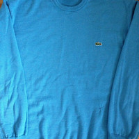 Lacoste Sky Blue 100% Pure New Wool Fitted Sweater Mens Size 6/Large