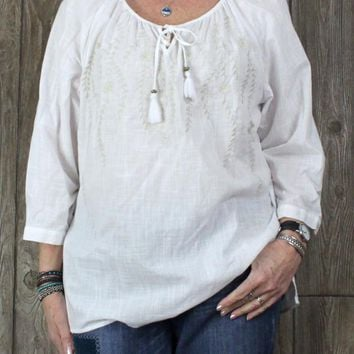 Nice J Jill XL size Blouse White Tan Embroidered Peasant Top Womens Lightweight