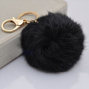 1Pc Vogue Unisex Colorful Rabbit Fur Ball Plush PomPom Cell Phone Car Bag Ornaments Keychain Pendant Handbag Charm Key Ring