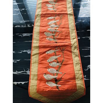 """16"""" x 72"""" Hand Beaded and Embroidered Design Organza Table Runner or Topper with Tassels"""