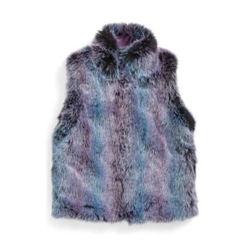 WIGEON High Collar Reversible Faux Fur Vest (Little Girls)