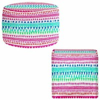 Ottoman Foot Stool Pouf Round or Square from DiaNoche Designs by Monika Strigel Home Decor and Unique Bedroom Ideas - Hakuna Matata I