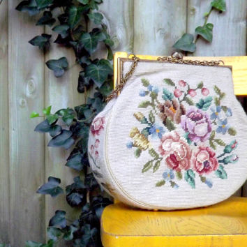 Needlepoint Floral Rose Handbag, Quality Designer Switkes Purse, Vintage 1950s Womens Fashion Accessory