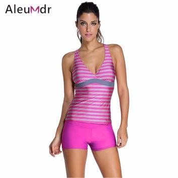 Bathing Suit Swimwear Women Maillot De Bain Ttaille Haute Two Piece Set Striped Racerback Tankini with Swim Shorts 41995
