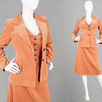 Vintage 70s Skirt Suit 3 Piece Suit Women Tailored Jacket Slim Fit Blazer & Waistcoat Matching Vest Wide Lapels Velvet Suit 1970s Disco Suit