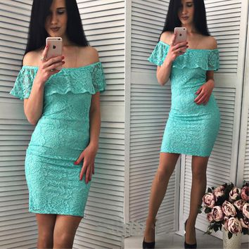 2018 New Fashion Womens Ruffles Lace dress Summer Sexy Off Shoulder Slahs neck Short sleeve Vintage Elegant Club Party dresses