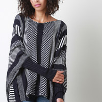 Striped Patterned Knit Dolman Sweater Top