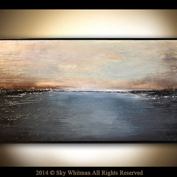 Original Landscape Framed Textured Charcoal Gray and Sand Taupe Large Abstract High Gloss Landscape Painting Modern oil 25x49 by Sky Whitman