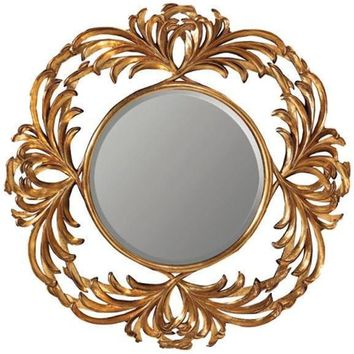 GM Luxury Raphael Round Decorative Wall Art Hand Carved Mirror Antique Gold Leaf