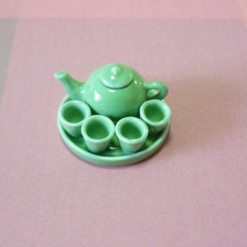 Mini tea pot miniature green tea cut sets kitchen ceramic Dollhouse miniatures -mini kitchen utensil -mini doll house