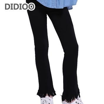 Girls Clothes 2 Cotton Tassels Flare Pants For Girls School Clothes 4 High Waist Black Trousers 6 8 Autumn Skinny Leggings