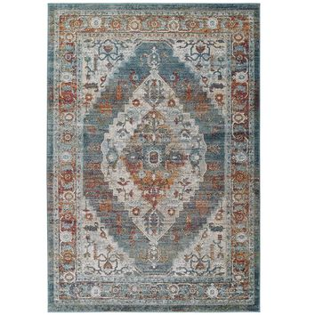Tribute Camellia Distressed Vintage Floral Persian Medallion 8x10 Area Rug