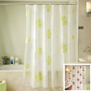New Eco-friendly PEVA Shower Curtains Red Flower Printed Matte Waterproof Moldproof Curtain Bathroom Products Cortina Ducha