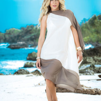 Flowing Asymmetrical Cover Up And Beach Dress-Swimwear Cover Up