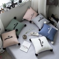 Cotton Stuffed Pillow Cushion Chic Smile Letters Embroidery Girl Dream Cute Little Round Balls Decorative Bed Room Deco