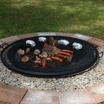 "36"" Round Outdoor Fire Pit Cooking Grill in Black"