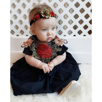 Toddler Kids Girl dress embroidery Rose Floral Dress Pageant Princess Party Dress Outfits Clothes drop shipping