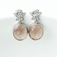 Butterfly Jewelry, Champagne Glass Earrings, Cubic Zirconia, Stud Earrings