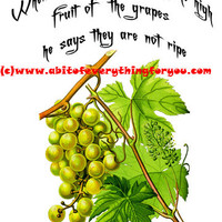 Green Grapes Wise Quotes Art printable art print png clipart instant download digital image graphics vintage garden for crafts cards