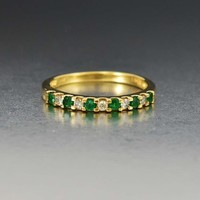 Fine Diamond and Emerald Half Eternity Band Ring