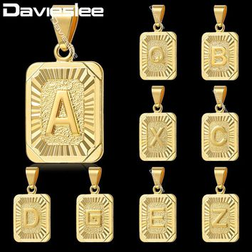 Davieslee A-Z Initial Letter Pendant Gold Filled Charm Men Women Pendant Necklace Capital Letter Trendy Gift Jewelry GPM05