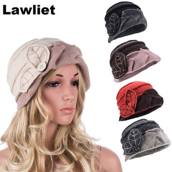 A375  Fashion Muliticolor Wool Feamale Skullies&Beanies for Women Winter Cloche Bucket Ladies Hats Headwear Cap