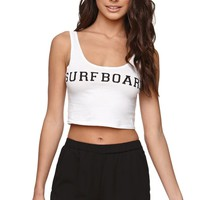 LA Hearts Surfboard Crop Fit Tank - Womens Tee - White -