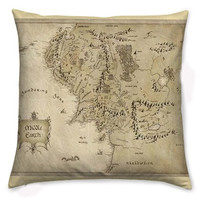 Middle Earth Cushion, Pillow Cover, The Hobbit, Lord Of The Rings, Geek Pillow, Rooby Lane