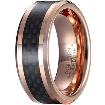 CERTIFIED 8mm Rose Gold Tungsten Carbide Ring Vintage Wedding Jewelry Black Carbor Fiber Engagement Promise Band