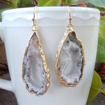 Geode Slice Earrings 14K Gold Agate Druzy Freeform Dangle Rock White Crystal Quartz Boho - Free Shipping Jewelry