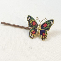 Red butterfly bobby pin, hair pin, vintage butterfly, hair clip, upcycled enamel butterfly brooch pin