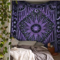 Purple Sun Moon Celestial Universe Boho Twin Wall Tapestry