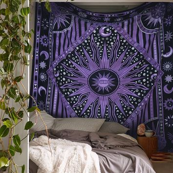 Purple Burning Sun Bohemian Boho Wall Bed Queen Tapestry